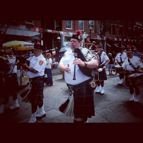 Greater Boston Firefighters, Maynard Pipes and Drums Corp. Parade Festival Saintagripinna Dimineo 256AD rome sicily relics martyr torture emperorvalerian patron saint thunderstorms leprosy evilsprits hanoverstreet firefighters drums pipes kilts bagpipes trb_members1 boston