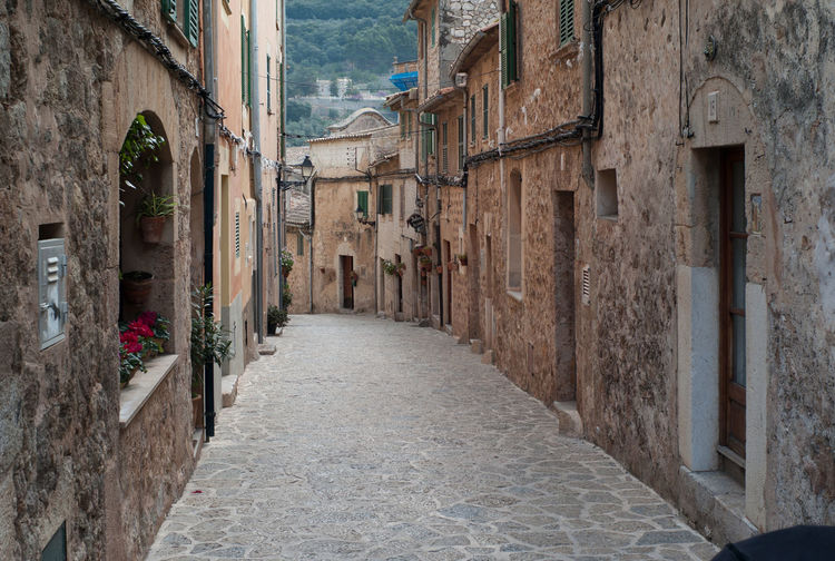 Alley amidst buildings in valldemossa