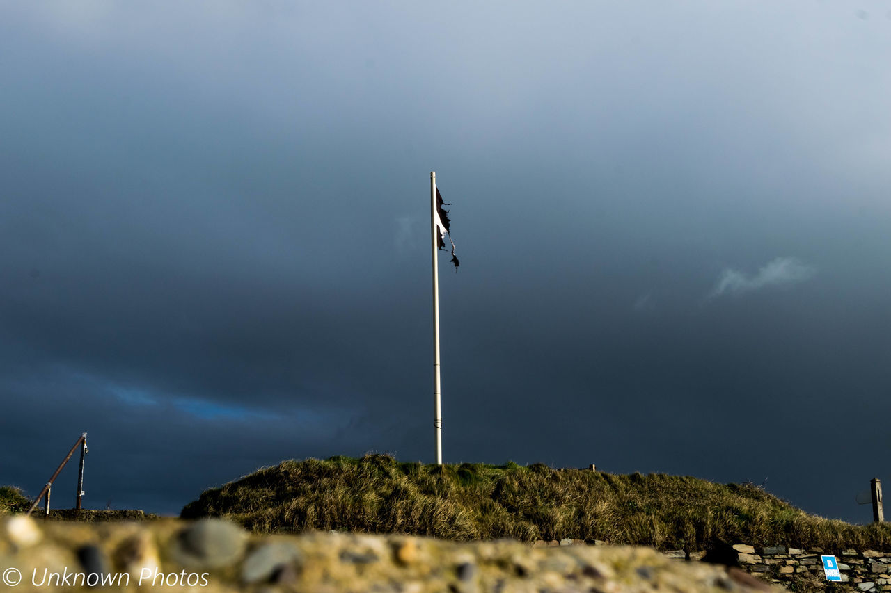 flag, patriotism, flag pole, low angle view, pride, sky, no people, nature, cloud - sky, outdoors, day