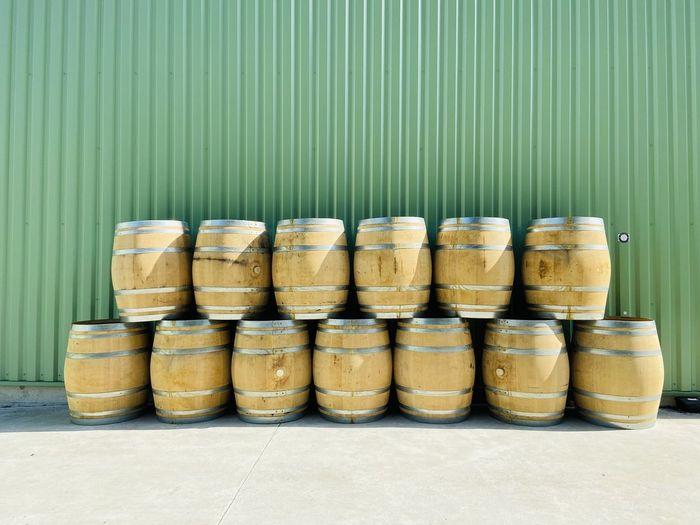 Stack of wooden wine barrels
