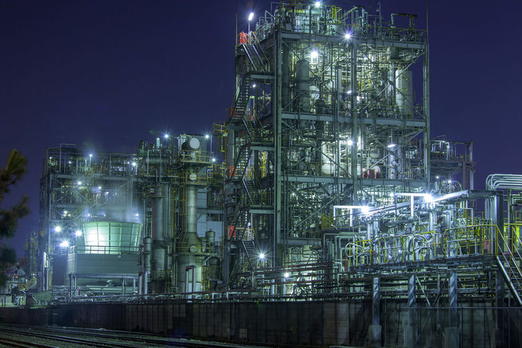 factory in japan Architecture Building Exterior Built Structure Chemical Plant Complexity Development Environmental Issues Factory Fuel And Power Generation Illuminated Industrial Building  Industry Lighting Equipment Low Angle View Nature Night No People Oil Industry Outdoors Pollution Sky Smoke Stack
