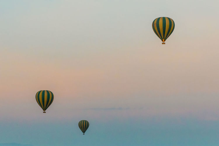Low angle view of hot air balloons flying against sky during sunset
