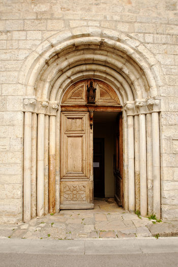 Abbey Arch Architecture Art And Craft Bad Condition Built Structure Church Closed Column Design Door Entrance Historic History Indoors  Old Ornate Pattern Ruined Valbonne Wall