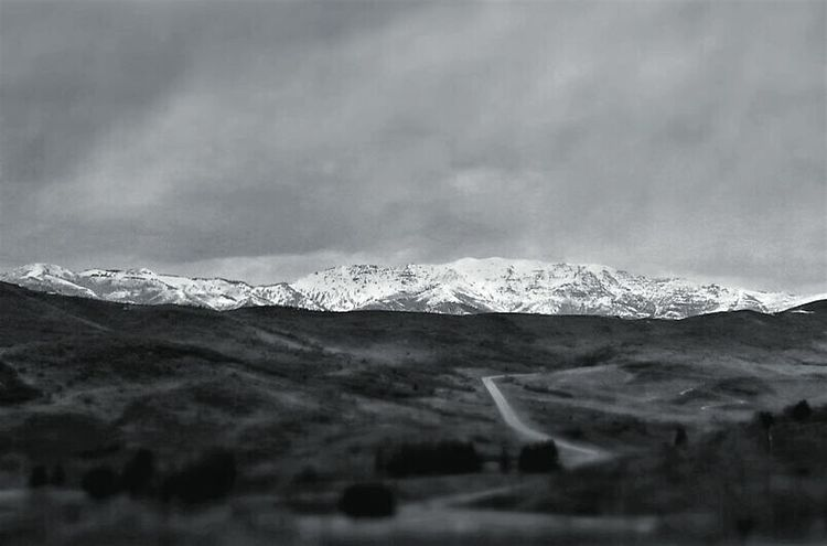 Snow Mountain No People Winter Beauty In Nature Landscape Dramatic Sky Cloud - Sky Outdoors Nature Blackandwhite Black And White Black & White Black And White Photography Tiltshift Tilt-shift Tilt Shift Mountain Road Desolate Scene Desolate Moody Sky Gloomy Dark Skies Dark Sky Country Road