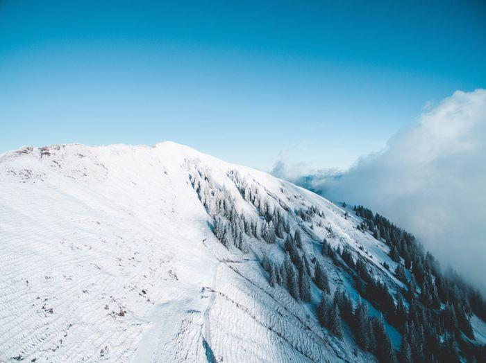 Winter Alpine Alps Landscape Areal Outdoors Scenics Snow Mountain Clear Sky
