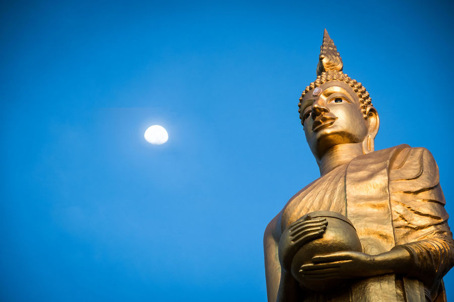 Buddha Moon Thailand Watpaknamjolo Art And Craft Blue Buddhist Temple Clear Sky Gold Colored Human Representation Moon Religion Representation Sky Spirituality