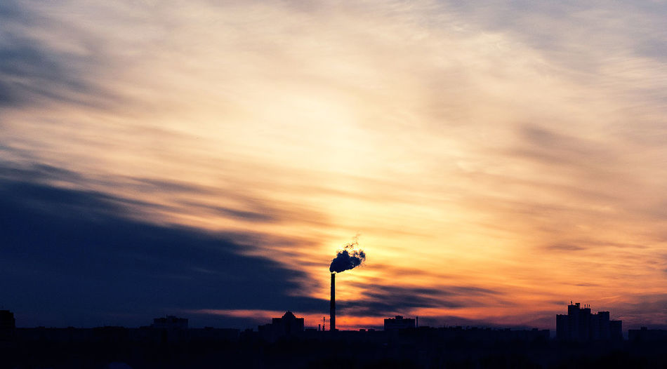 Sunset Sky Silhouette Nature Dramatic Sky Sunlight Smoke Tube Factory Ecology Industrial Cloud - Sky City Panorama Clouds