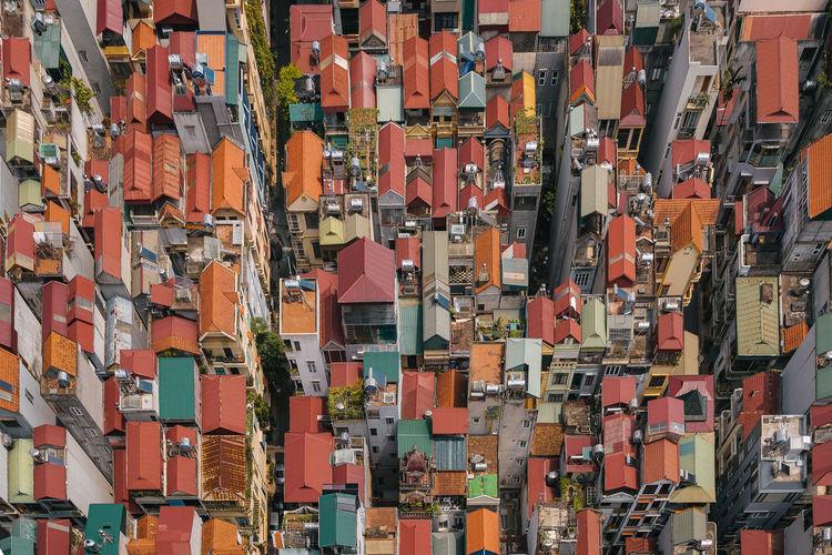Full frame shot of multi colored buildings in city