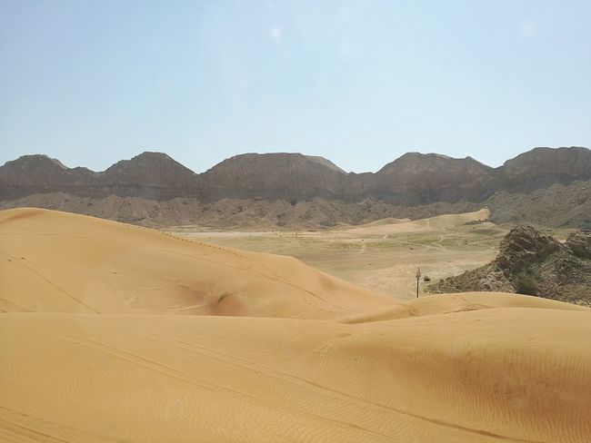Sand Dune Desert Sand Landscape Arid Climate Environment Nature Remote Heat - Temperature Outdoors Clear Sky Sky Scenics Beauty In Nature Day No People The Great Outdoors - 2017 EyeEm Awards