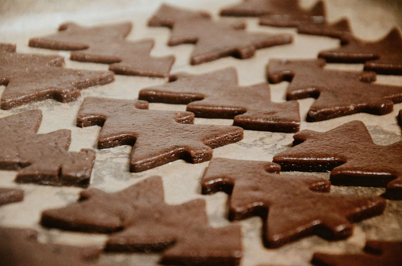 Close-up of pine shaped gingerbreads