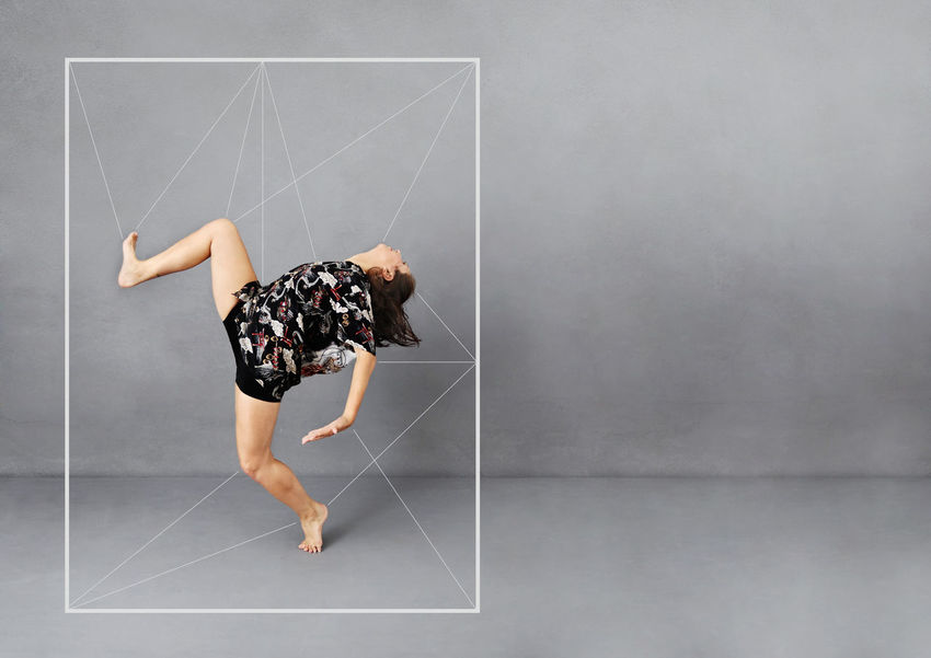 Full Length Indoors  Gray Gray Background One Person Studio Shot Young Adult Copy Space Casual Clothing Women Adult Creativity Dress Childhood Fun Drawing - Art Product Side View Digital Composite Contemplation Dance Dancer
