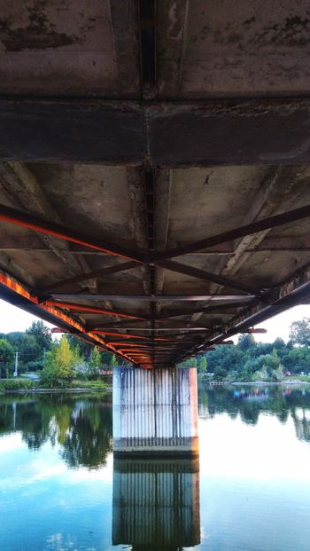 Bridge Steel Construction Concrete Pillars Under The Bridge Water Lake Reflection Tree Architecture Sky Built Structure