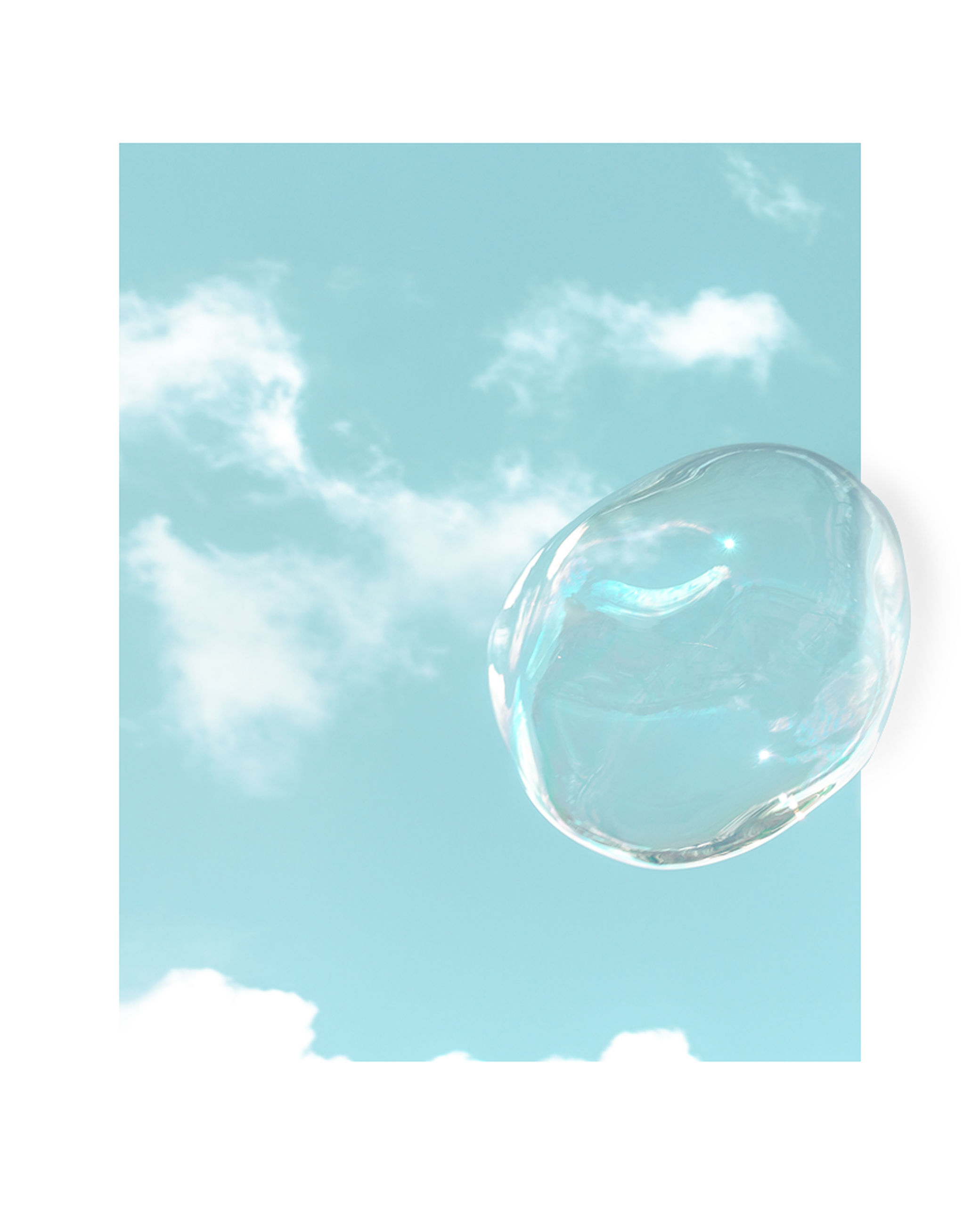 cloud - sky, sky, nature, transparent, mid-air, blue, vulnerability, no people, fragility, low angle view, bubble, day, outdoors, shape, beauty in nature, geometric shape, sunlight, soap sud, studio shot, close-up, digital composite