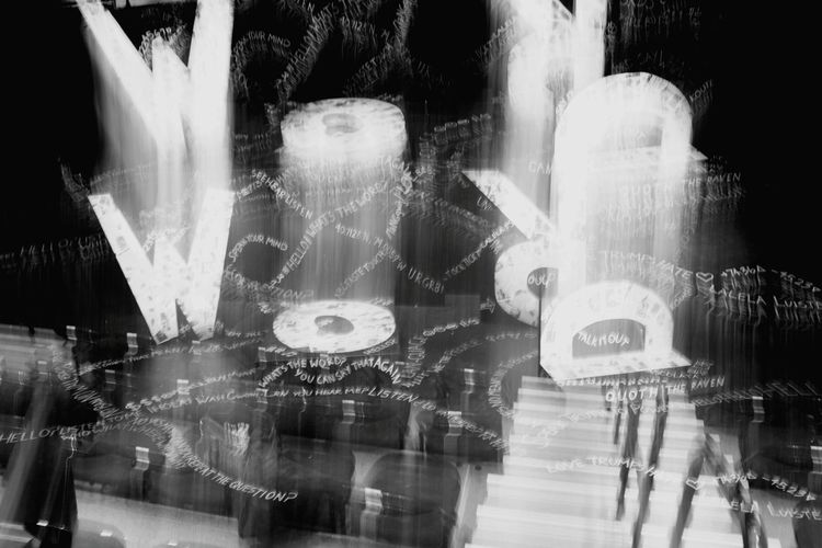 The Set of LANGUAGE by CAT Youth Theatre WordReflection Panoramic Architecture Backgrounds Black And White Photography Illuminated Motion Light Effect No People Close-up Stageset Myfirstpublicshow Taboo Messages/lessons Words Art Is Everywhere EyeEm Selects