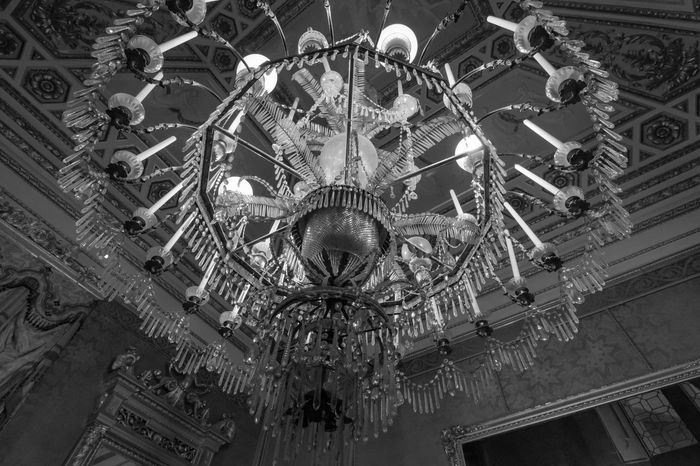 Light From Above Architecture Arts Culture And Entertainment Built Structure Ceiling Chandelier Day Florence Hanging Indoors  Low Angle View No People Pitti Palace