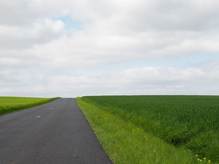 Surface level of road amidst field against sky