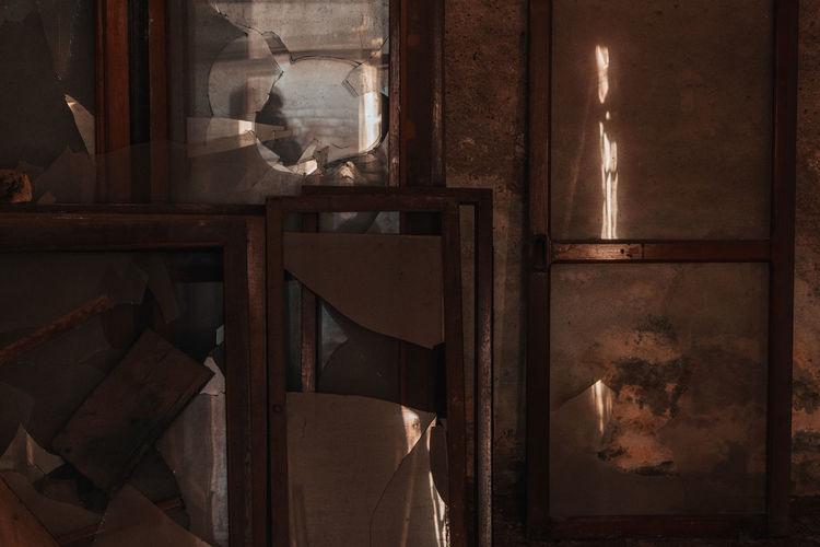 Close-up of abandoned window