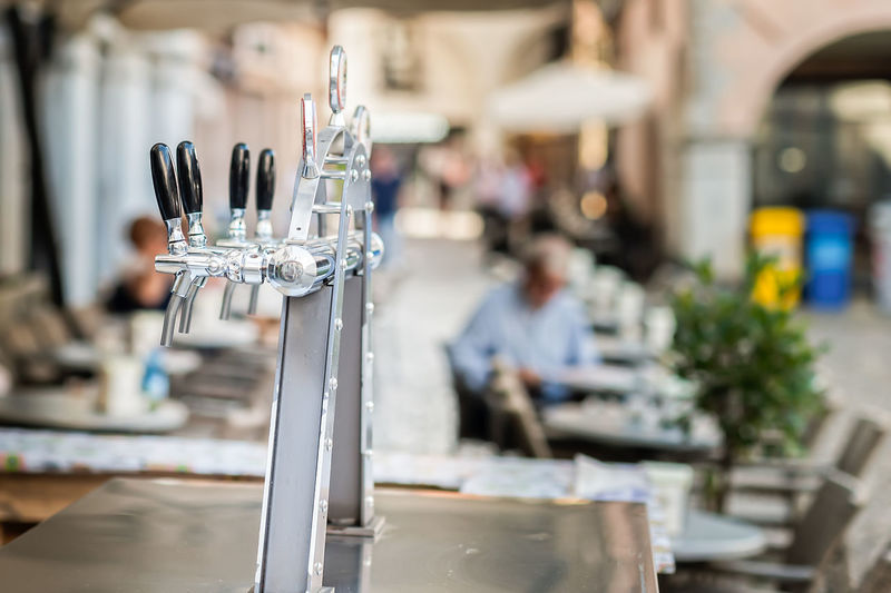 Close up of beer tap in restaurant
