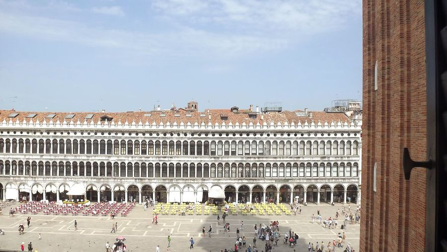 High angle view of people by doges palace in city