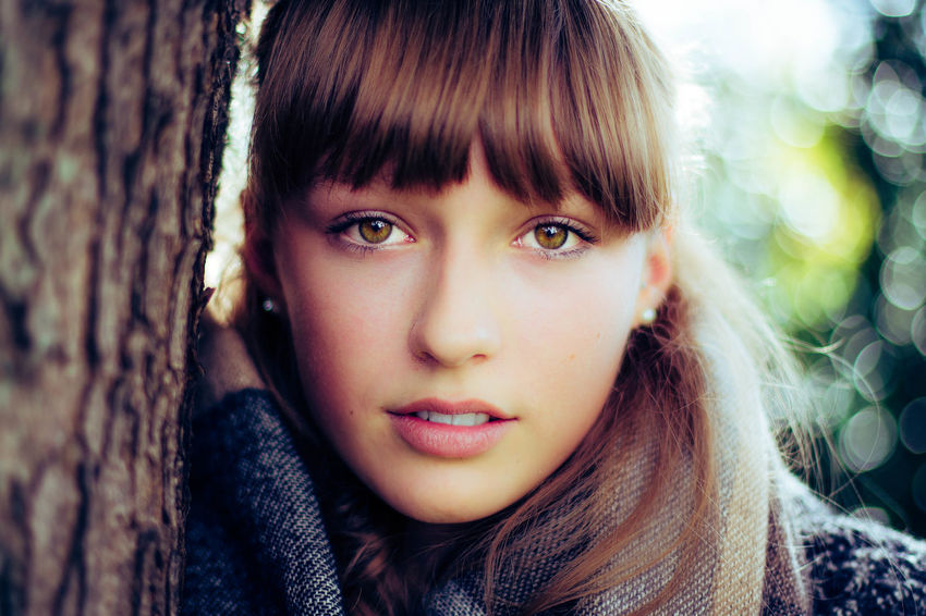 Salome Bangs Beautiful Woman Close-up Day Focus On Foreground Front View Headshot Looking At Camera One Person Outdoors People Portrait Real People Tree Young Adult Young Women