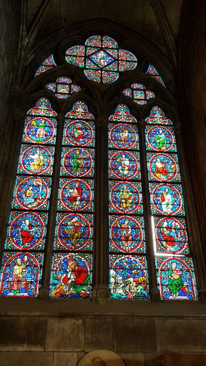 Low angle view of stained glass window