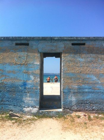 Sea Outdoors Clear Sky Water Nature Beach Senior Adult Senior Woman Senior Man Swimming Summer Mediterranean  View Through A Hole Blue Color Palette Croatia Old Couple Geometry Geometric Architecture Sommergefühle IPhone Photography EyeEmNewHere Breathing Space Summer Exploratorium