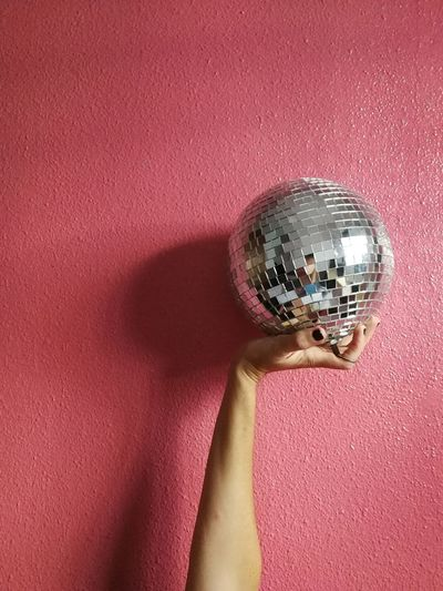 Backgrounds Studio Shot Colored Background Close-up Disco Ball Textured  Glitter Pink Background International Women's Day 2019