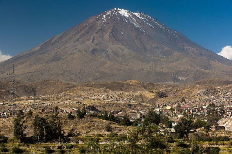 Scenic view of misti volcano