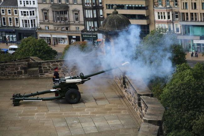 Cannon Courage Edinburgh Edinburgh Castle Motion One O'clock Gun Scotland Smoke Soldier Time Time Keeper