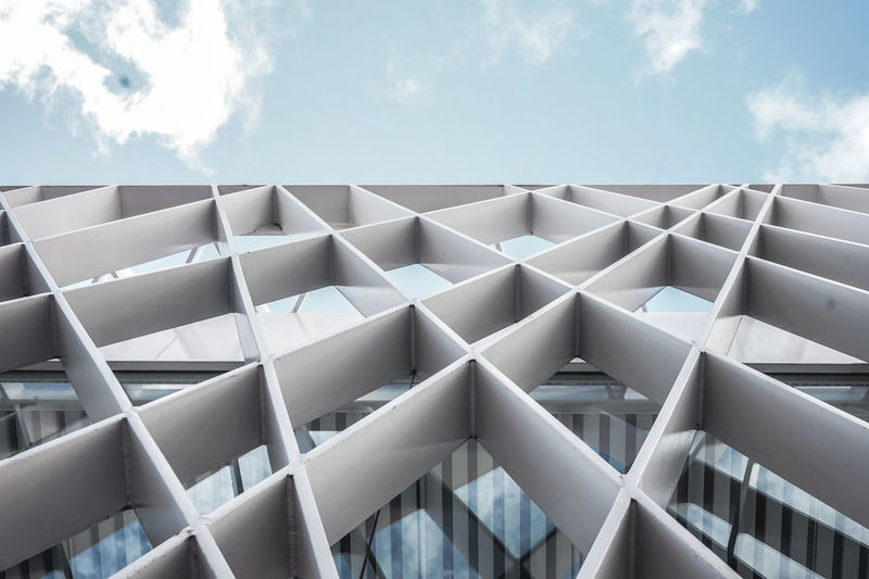 Architecture pattern Cloud - Sky Sky Day No People Low Angle View Pattern Architecture Building Exterior Modern White Exterior Symmetry Building White Color