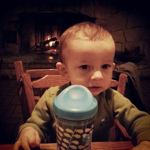 Fireside drink with Oliver.