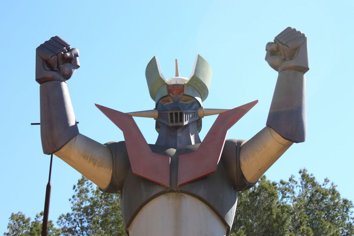 Giant Mazinger Z statue which is permanently in Tarragona, Spain. It was built in 80's 80's 80s Anime Cartoons Eighties Japanese  Low Angle View Manga Mazinger Mazinger Z MazingerZ Sky Statue