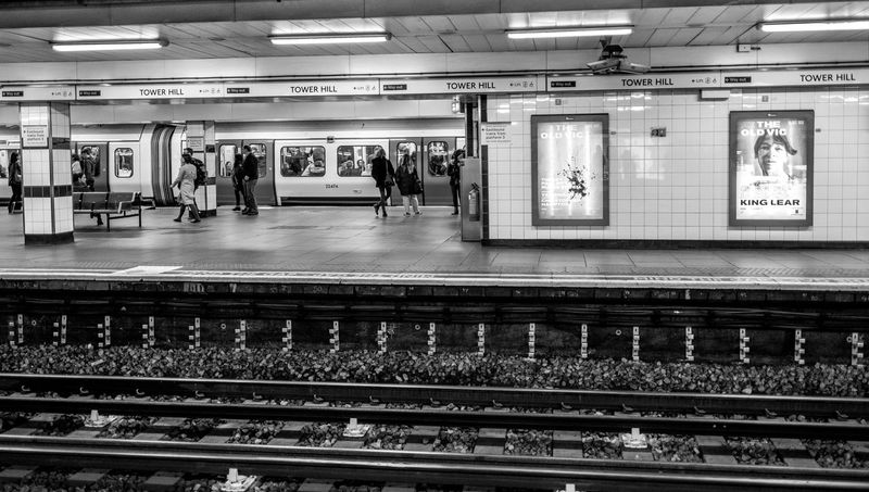 Tower Hill Underground Station, London Railroad Station Platform Subway Train London Monochrome FUJIFILMXT2 Monochrome Photography FUJIFILM X-T2 Railway Station Train Station Underground Station  Underground