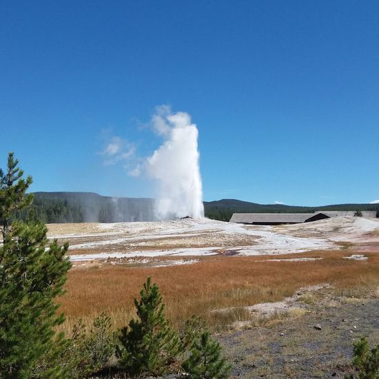 Yellowstone National Park Flyingirltraveling Outdoors Water Power In Nature Hot Spring Heat - Temperature Motion Erupting Sky Landscape Natural Landmark Geyser