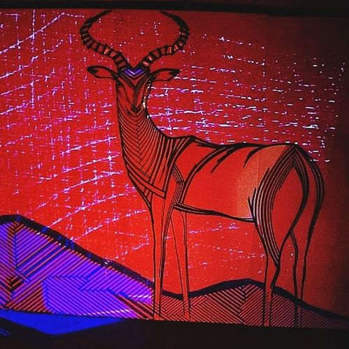 Impala antelope created with tape in combination with video mapping - Tape Art TAPE OVER Art ArtWork