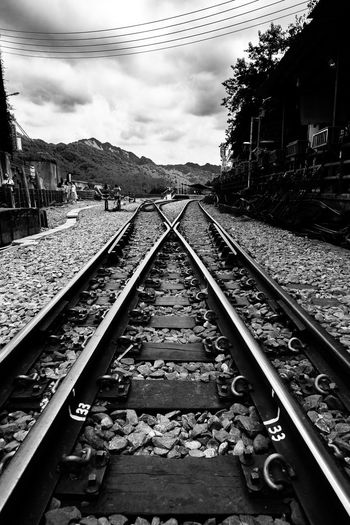 Alone Atmosphere Atmospheric Mood Black And White Blackandwhite Bnw Cloud - Sky Decisions Make Choice Pathway Rail Rail Transportation Railroad Track Railway Station Street Streetart Taipei Taiwan Transportation Two Ways To Go