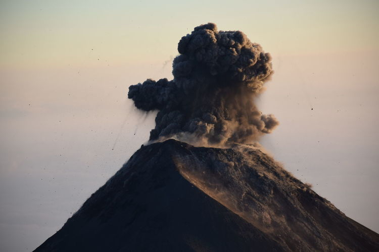 Eruption of Fuego Volcano visible from the top of Acatenango Volcano No People Geology Volcano Mountain Sky Nature Smoke - Physical Structure Power In Nature Erupting Outdoors Active Volcano Rock Close-up Volcanic Crater Day Mountain Peak Beauty In Nature Fuego Volcano Acatenango Guatemala Smoke Eruption