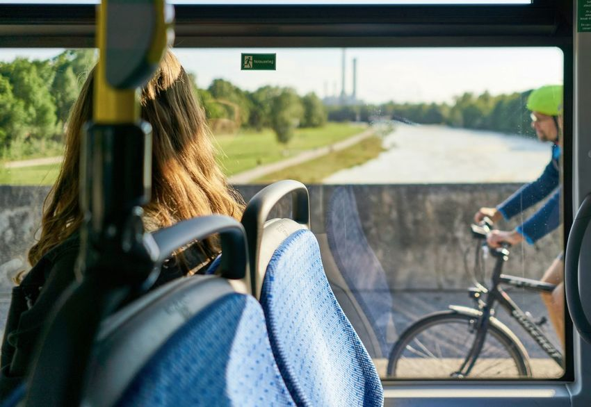 Transportation Two People Adult People Leisure Activity Day Mode Of Transport Bicycle Sitting Outdoors Transport High Resolution HighResolution Urban Young Adult Cycling Window River Bridge Munich München Looking Inside Outside