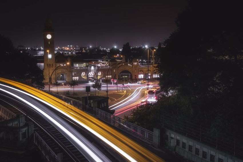 Light trails Light Trail Long Exposure Motion Speed Night Illuminated Blurred Motion Transportation Traffic Architecture High Angle View City Life Road Built Structure No People Building Exterior High Street Street Light City Outdoors