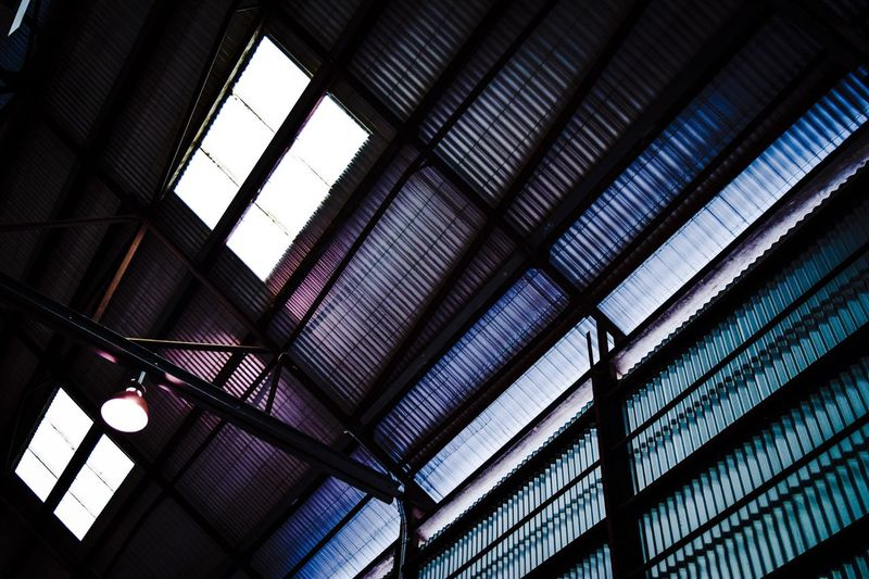 Window Ceiling Indoors  Low Angle View Architecture Built_Structure Day No People Illuminated Modern Steel Structure  Colors Corrugated Iron Industrial Sydney, Australia Fresh On Market 2017
