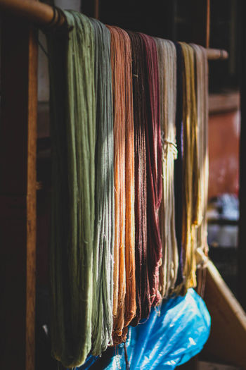 Close-up of ropes drying