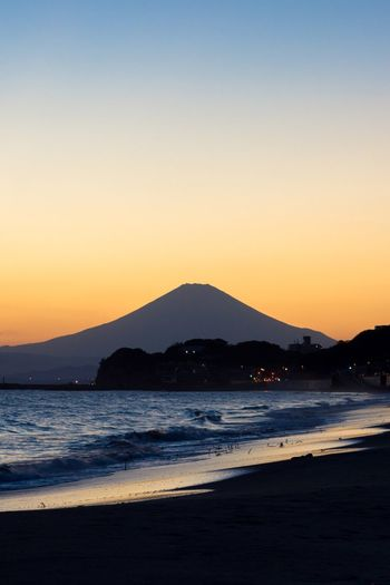 Scenic View Of Mt Fuji Against Clear Sky During Sunset