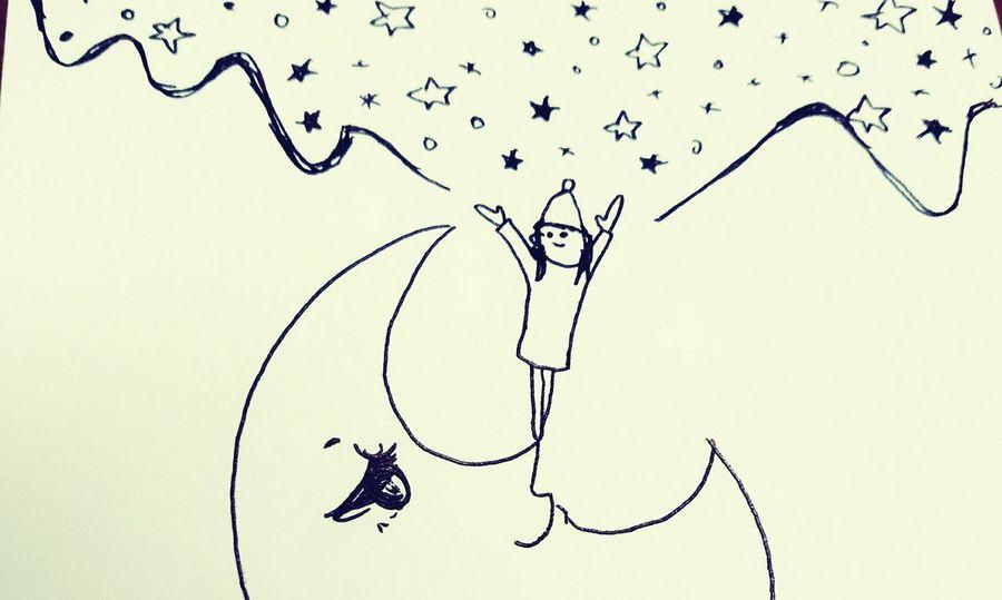 夜を作る人 Illustration ペン 星 月 イラスト