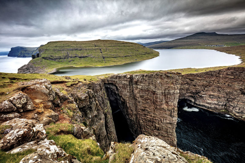 Sorvagsvatn Sorvagsvatn Beauty In Nature Cloud - Sky Environment Faroe Faroe Islands Idyllic Mountain Nature No People Non-urban Scene Scenics - Nature Sky Tranquil Scene Tranquility Water