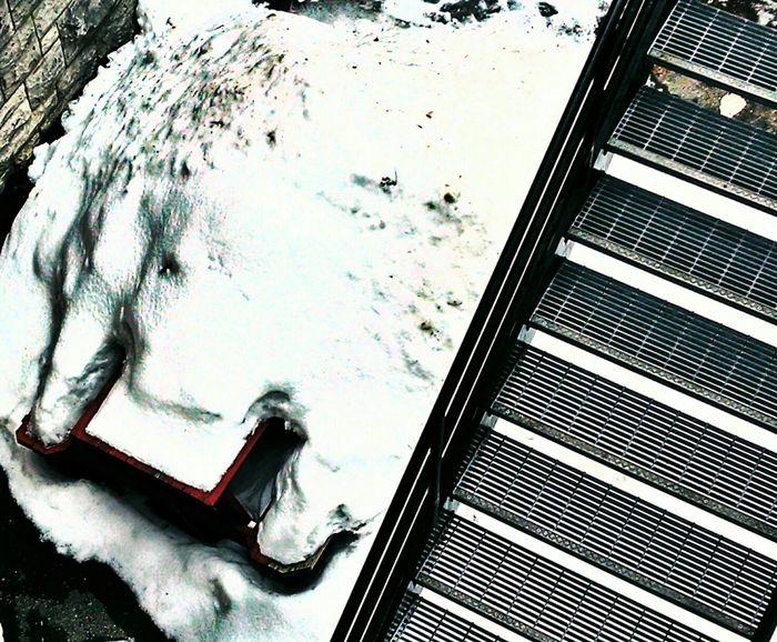Covered Picnic Table Snow Stairs NEM Painterly Obsessive Edits Dreaming NEM Street NEM Mood