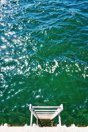 *Place Unique Ocean Quote Here* Water Rippled Day High Angle View No People Nature Outdoors Tranquility Sea Beauty In Nature EyeEm Best Shots EyeEm Nature Lover EyeEm Gallery EyeEmBestPics EyeEm Selects Green Ocean Ladder Waves