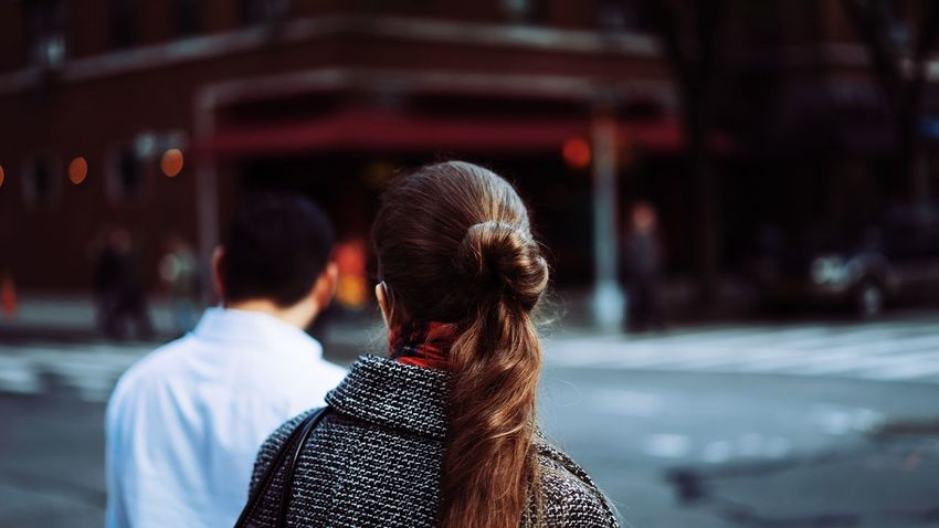 Back Head Brown Hair City Commuting Headshot Long Hair My Commute My Commute-2016 EyeEm Photography Awards Outdoors Rear View Selective Focus Walking Around Warm Clothing Winter Woman Woman Portrait