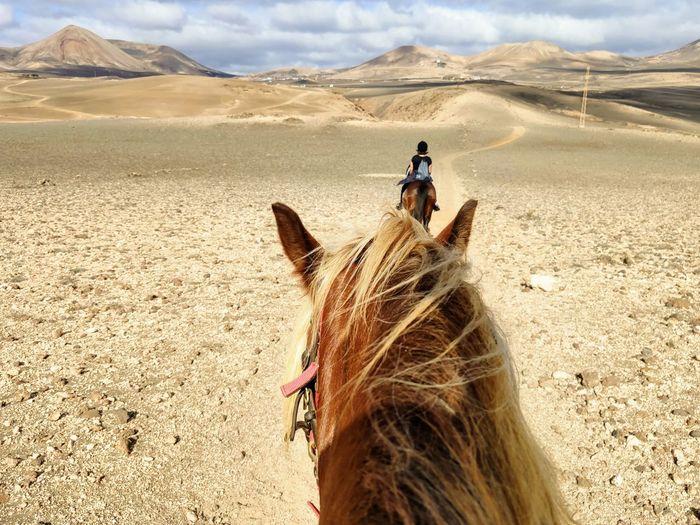 Woman riding horse in desert