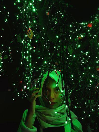 Portrait of illuminated christmas tree