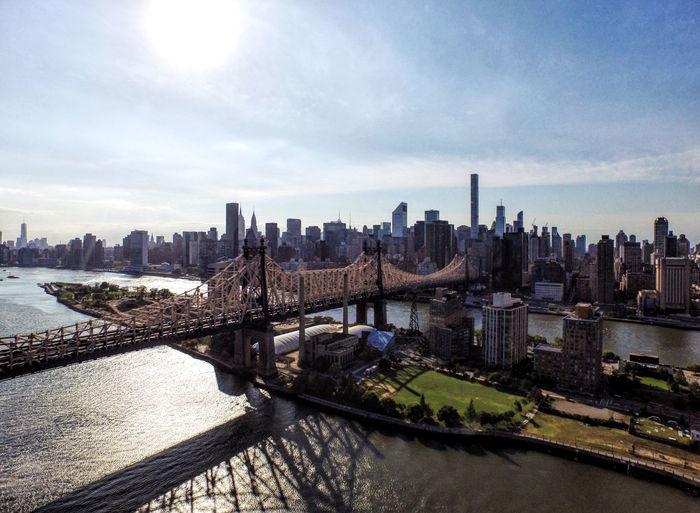2016 Bridge City Day Drone  Dronephotography Flying High Hudson River Island Manhattan New York City NYC Queens Queensbridge Park River Roosevelt Island Sky Skyline Sun Water